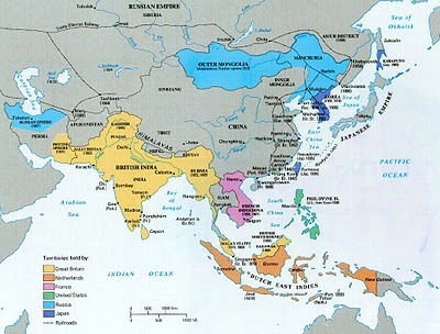 Colonial Southeast Asia circa 1850's. Thailand/Siam was never colonized but made many concessions.